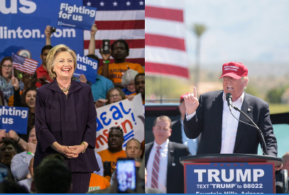 Image of Hillary Clinton and Donald Trump at public speaking events