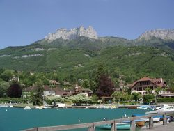 Sunnt day along lake Annecy in Talloires France