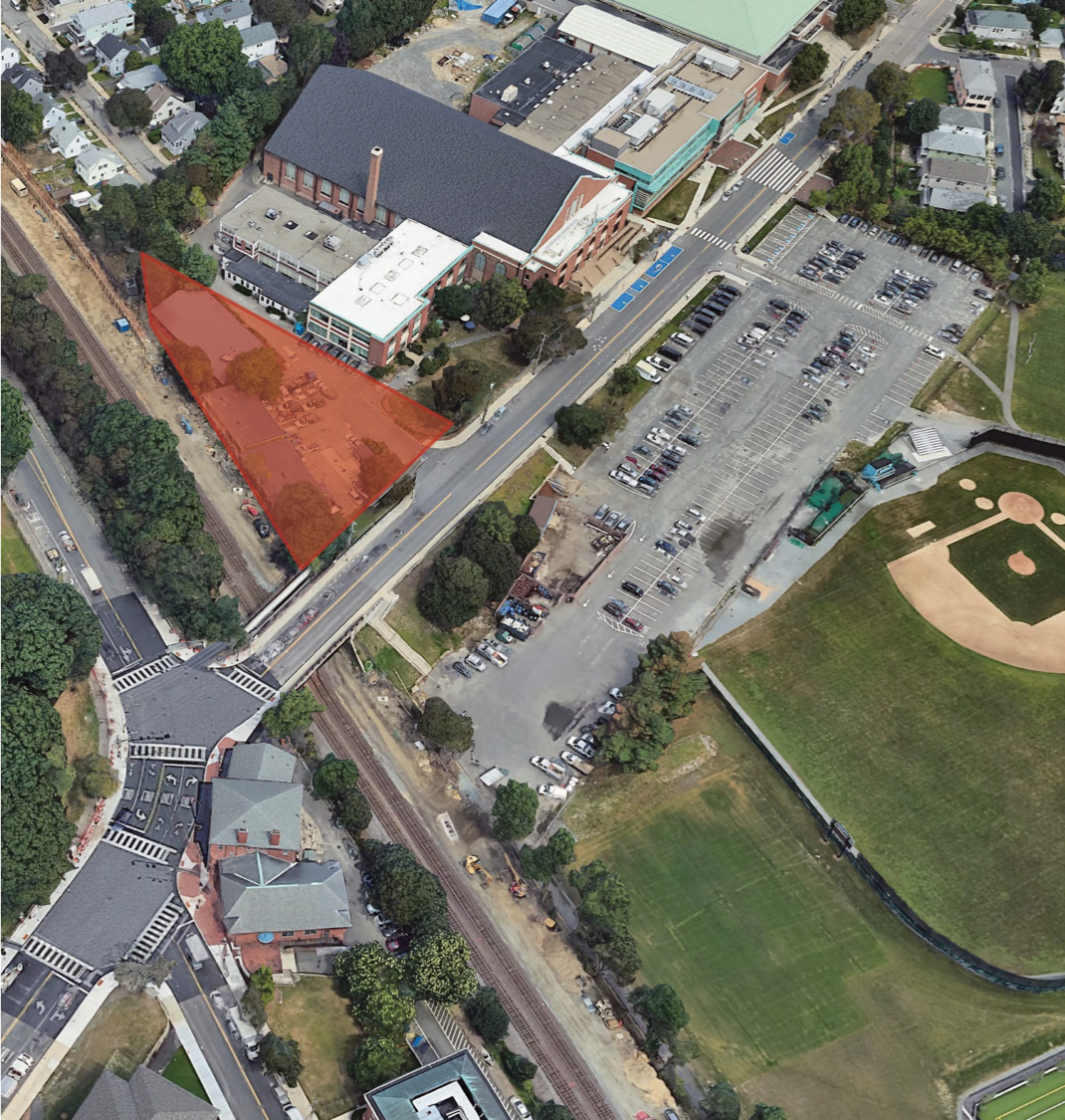 Aerial photo of the location of the new cummings building at the intersection of Boston and College Avenues.