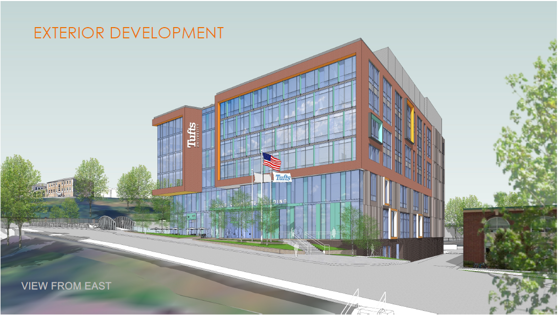 A rendering of the outside. east view of the new Cummings building.